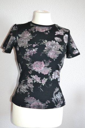 Tshirt schwarz Blumen floral Glitzer