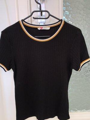 Tshirt Schwarz mit Gelben Kragen
