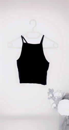 Tshirt top oberteil crop cropped schwarz neckholder