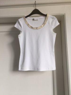 St. emile Prążkowana koszulka biały-złoto