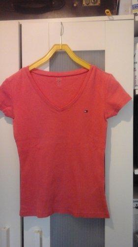Tommy Hilfiger Camisa con cuello V salmón Algodón