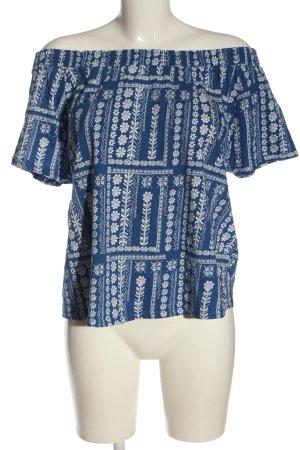TU Carmenshirt blau-weiß grafisches Muster Casual-Look