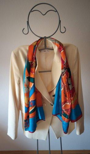 Foulard en soie orange fluo-bleu fluo soie