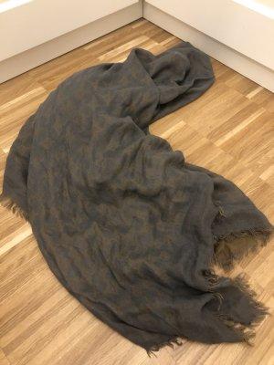 Gucci Panno di seta grigio scuro-color cammello