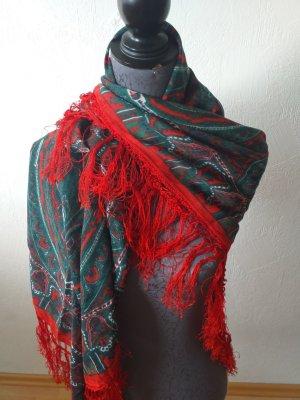 Handdruck Écharpe en cachemire rouge-gris vert