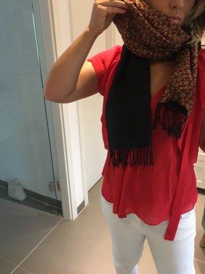 Bufanda de seda negro-burdeos