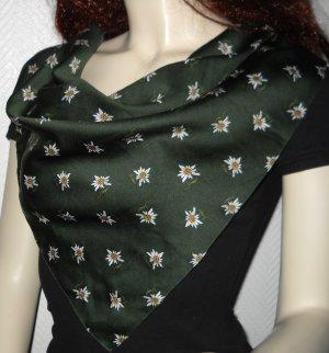 Tuch Halstuch Scarf dunkelgrün weiß h m Edelweiß Wiesn Oktoberfest Trachten