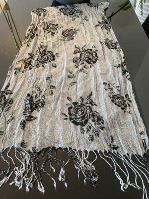 Tuch Halstuch Stofftuch grau mit schwarzen Rosen und Fransen