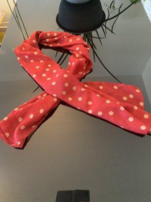 Tuch Halstuch Stofftuch rot mit beigen Punkten