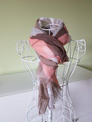 Tuch in braun/weiß/rosa