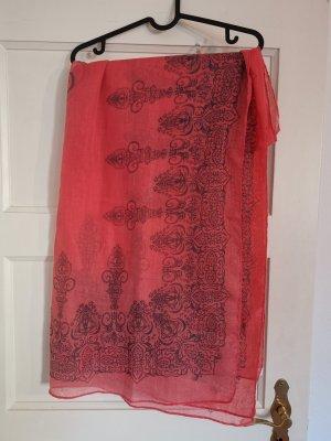 Tuch leichter Schal Halstuch lachsfarben Muster neu