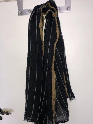 Zara Schoudersjaal camel-zwart Linnen
