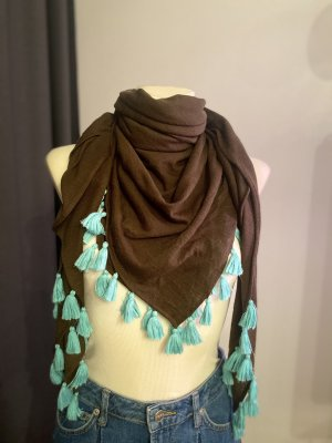 keine Ahnung Shoulder Scarf dark brown-turquoise