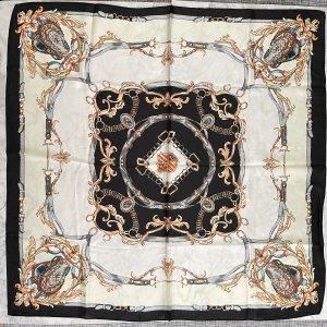 Tuch quadratisch schwarz weiß creme gold neu ungetragen