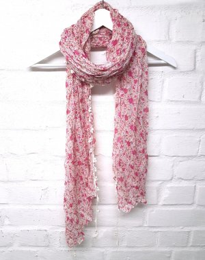Tuch Rosa Pink Beige Bommel Crinkle Effekt H&M