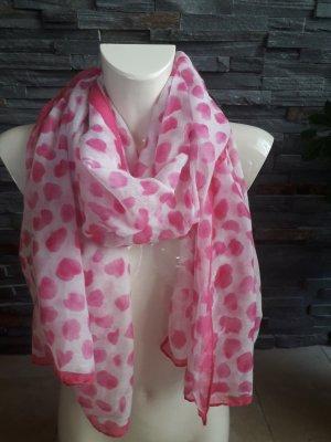 Sjaal met franjes wit-roze