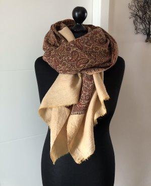 Tuch/Schal, groß, Erdtöne, Paisley Muster