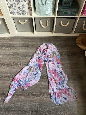 Tuch Schal pink blau grün weiß bunt Muster Blumen Aquarell Silber Anhänger