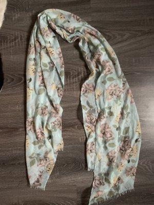 Tuch Schal Rosen Blumen Muster hellblau türkis beige neu Halstuch