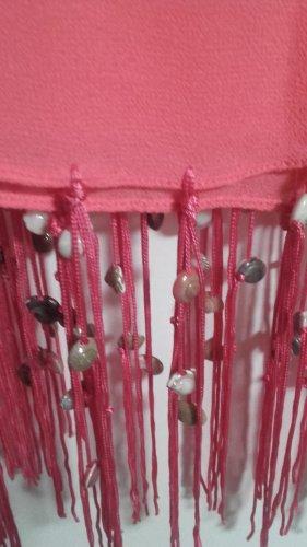 Footprints Bufanda de flecos rosa