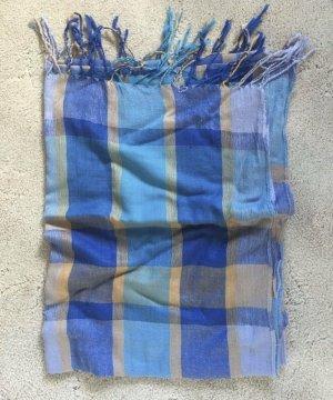 / Foulard bleu fluo-orange tissu mixte