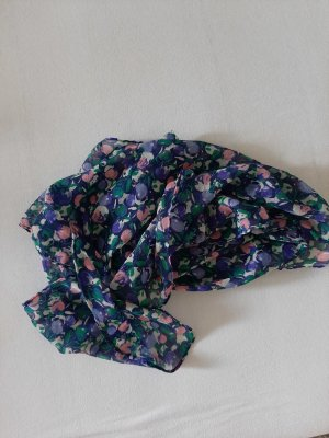 H&M Apaszka stalowy niebieski-różowy Tkanina z mieszanych włókien