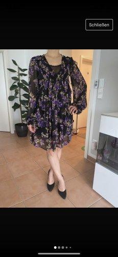 Guess Sukienka midi ciemny fiolet-czarny