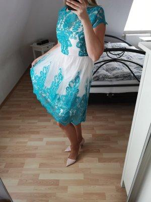 SheIn Petticoat Dress white-turquoise