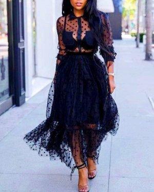 Vestido estilo flounce negro Poliéster