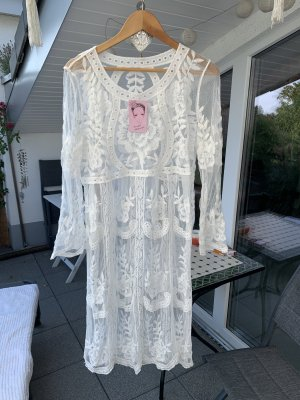 Sukienka boho biały-w kolorze białej wełny