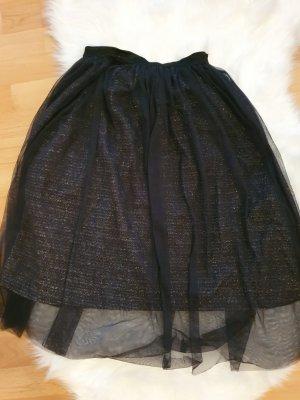 Zara Trafaluc Falda de tul negro-color plata