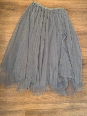Falda de tafetán gris