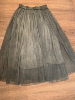 Falda de tafetán gris verdoso-caqui
