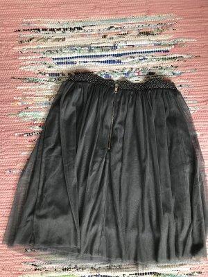 H&M Falda de tul negro-color plata