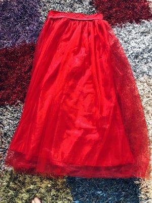 Abendkleid Jupe en tulle rouge fluo