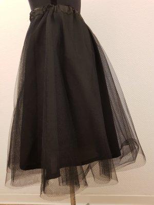 Tiulowa spódnica czarny Tkanina z mieszanych włókien