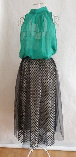 Tiulowa spódnica czarny-kremowy