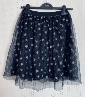 Tulle Skirt black-silver-colored polyester