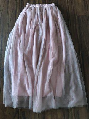 Tüllrock rosa lang