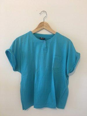Türkis blau Retro Vintage Baumwolle Shirt Oberteil Top Sommer Halbarm