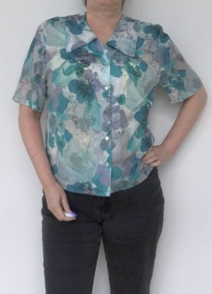 Authentic Short Sleeved Blouse multicolored viscose