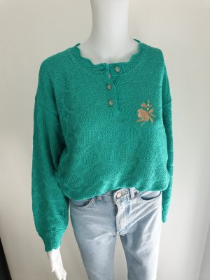 Türkis grün Cardigan Strickjacke Oversize Pullover Hoodie Pulli Sweater Top True Vintage