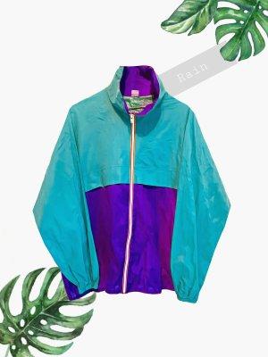 Türkis lila violett Jacke regen leicht ski windbreaker color Block | vintage | 38-42