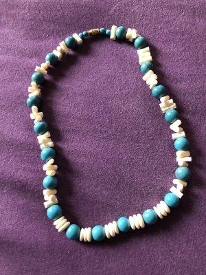 Collier de perles blanc-turquoise