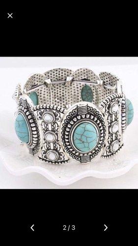 Türkis /Silber Armband dehnbar  Neu