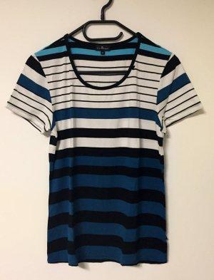 türkis-weiß-schwarz-gestreiftes Shirt, kurzärmlig, Gr. 40