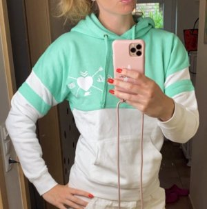 Hooded Sweatshirt white-turquoise