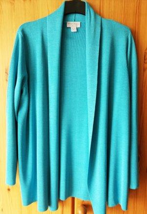 türkisblaue Strickjacke mit Schalkragen, passend zum Halbarmpullover, von Peter Hahn