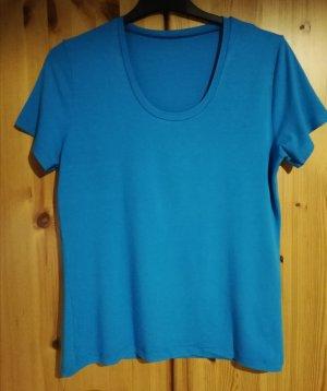 türkisblaues 1/4 Arm Shirt aus Viskose-Stretchjersey