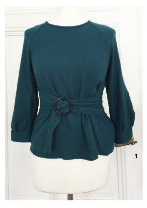 Türkise Bluse mit integriertem Gürtel NEU aus strukturiertem Stoff im Seventies Style